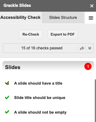 Slides section of Grackle